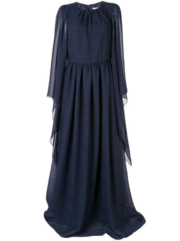 Ingie Paris draped kaftan gown in blue