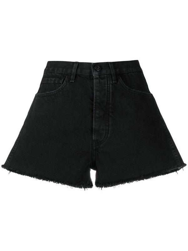 3x1 raw-cut hem shorts in black