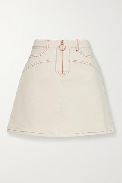 SEE BY CHLOÉ SEE BY CHLOÉ - Topstitched Denim Mini Skirt - Ecru