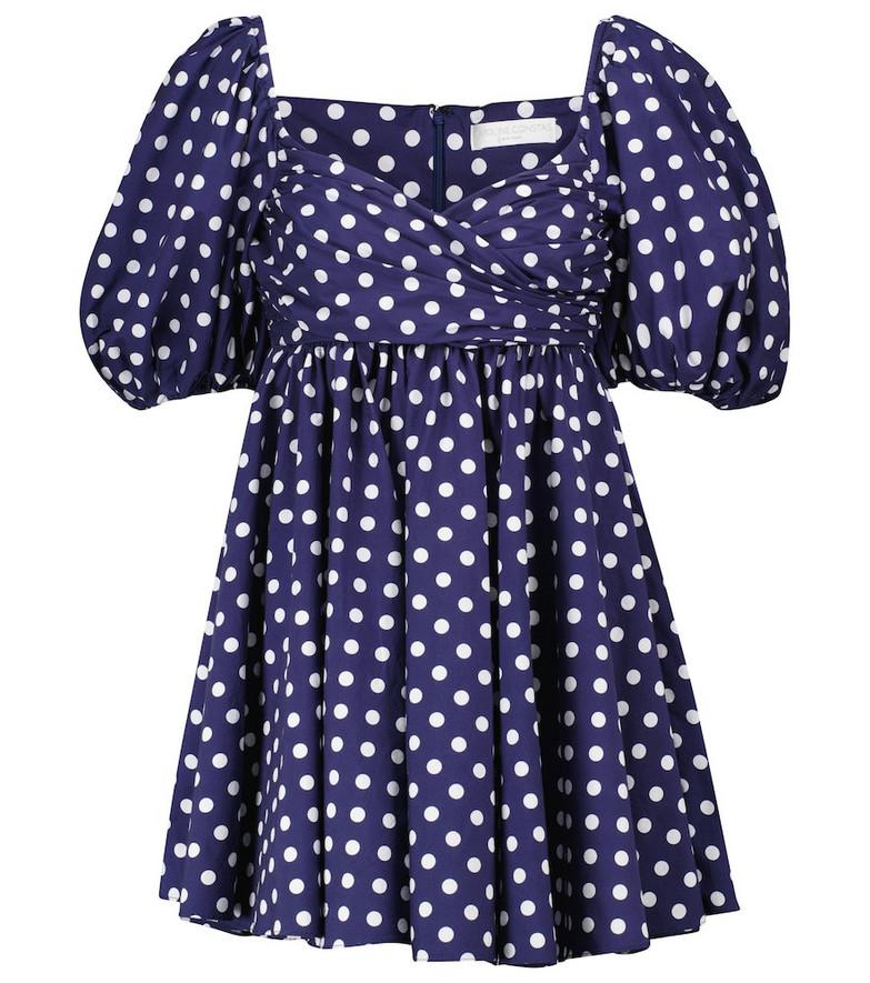Caroline Constas Brie polka-dot cotton-blend minidress in blue