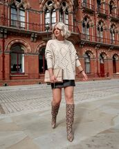 sweater,white sweater,black leather skirt,mini skirt,knee high boots,snake print,bag