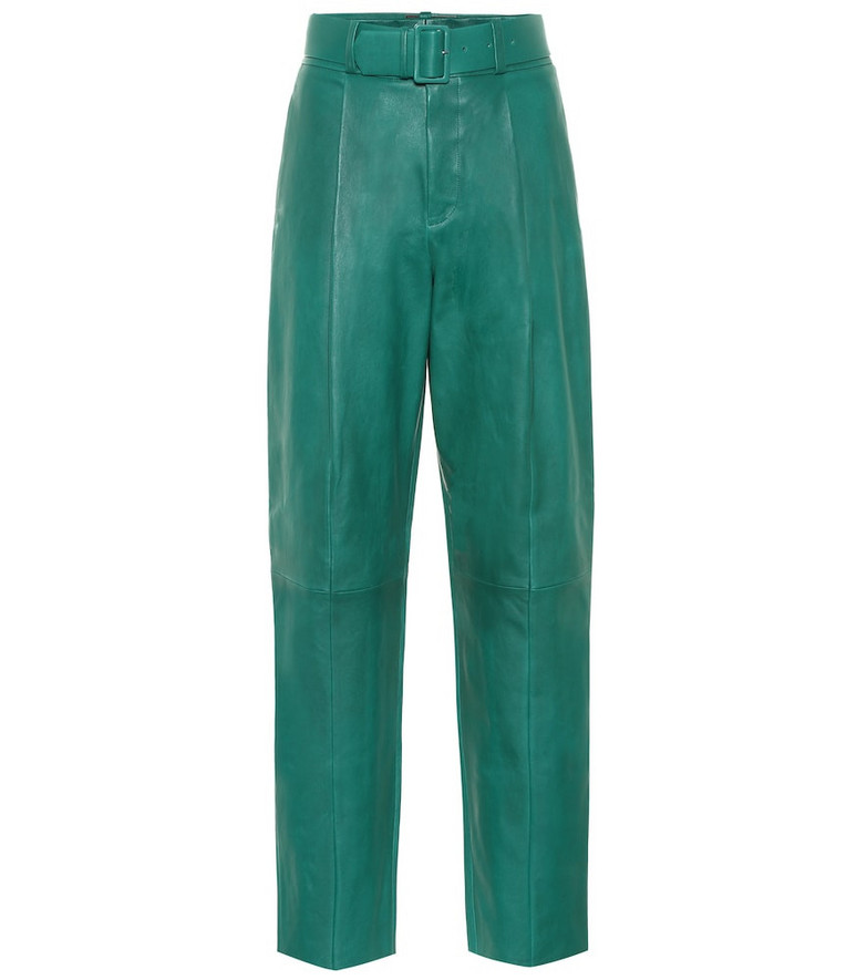 Stouls Murray high-rise leather pants in green