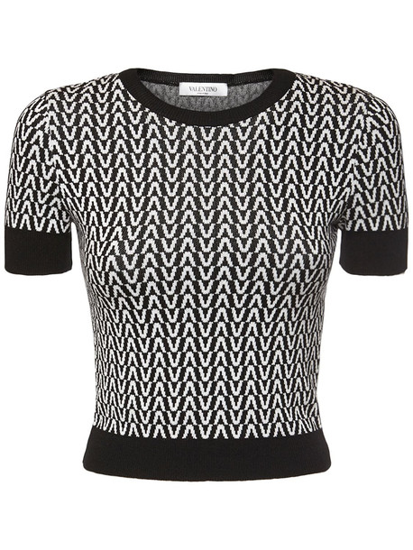 VALENTINO Jacquard Wool Knit Sweater in black / ivory