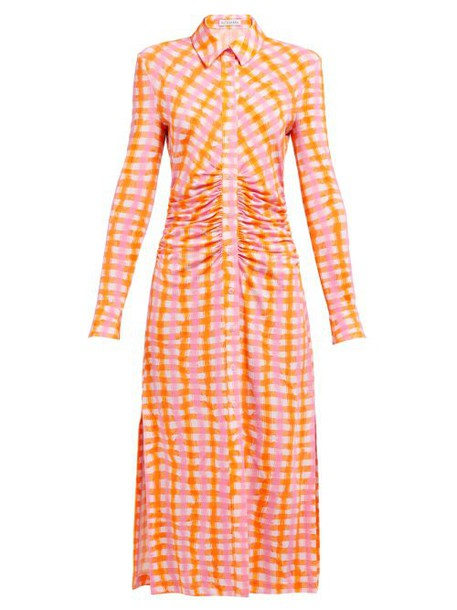 Altuzarra - Claudia Ruched Gingham Jersey Midi Dress - Womens - Orange Multi