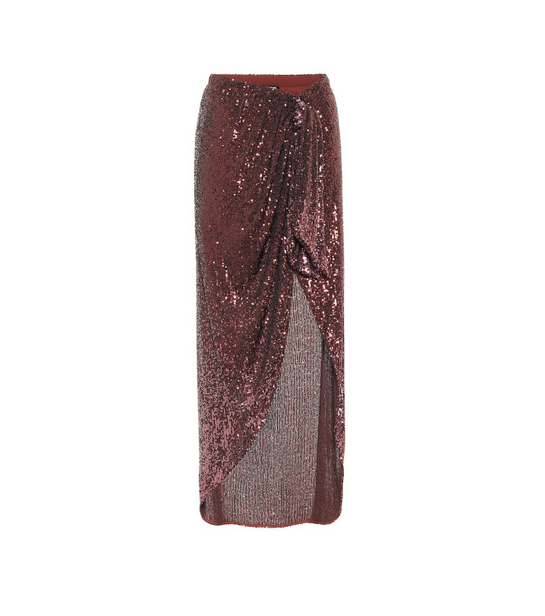 Balmain Sequined maxi skirt in red