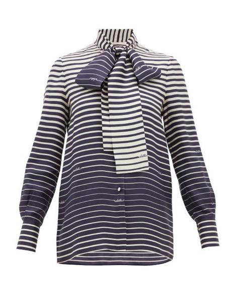 Valentino - Degradé-stripe Silk-twill Blouse - Womens - Navy Stripe