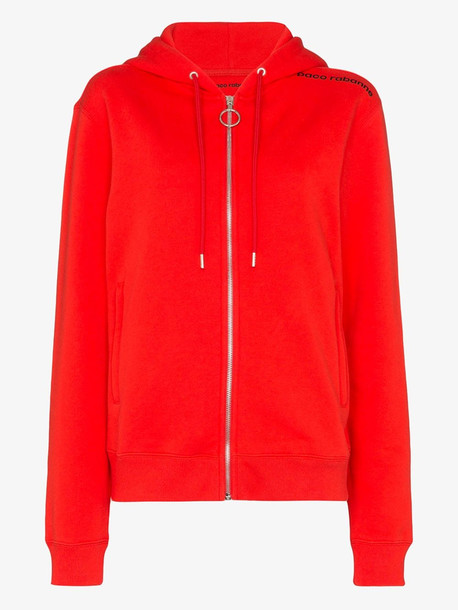 Paco Rabanne logo print cotton hoodie