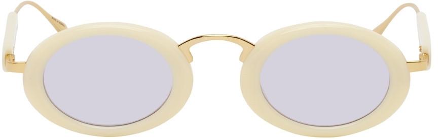 PROJEKT PRODUKT Off-White Oval Sunglasses in ivory
