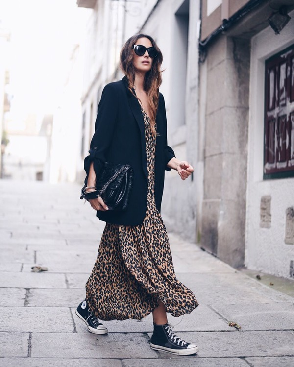 dress maxi dress leopard print converse black blazer black bag black sunglasses