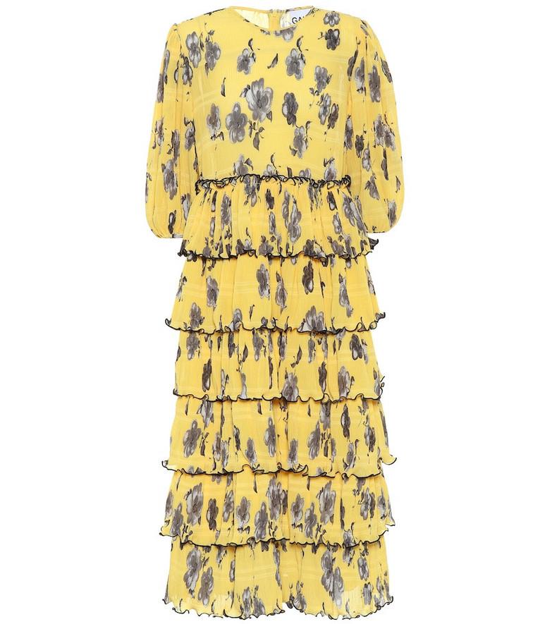 Ganni Floral crêpe midi dress in yellow