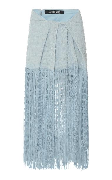 Jacquemus La Jupe Capri Fringed Linen-Blend Midi Skirt Size: 36 in blue