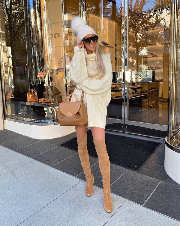 sweater white sweater turtleneck sweater suede boots over the knee boots bag beanie