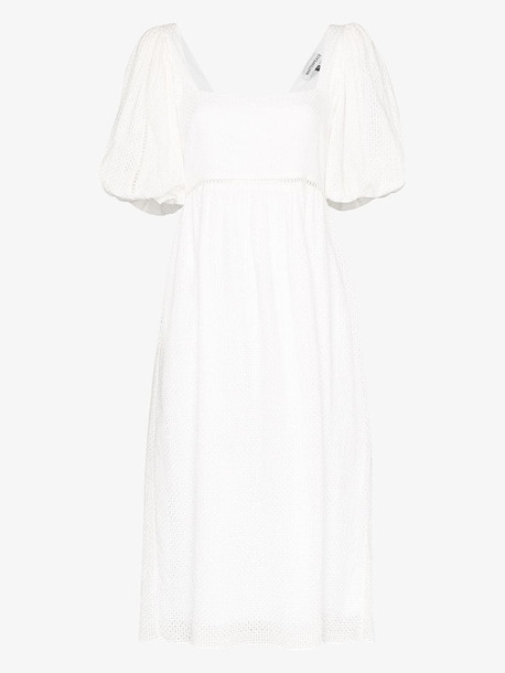 Masterpeace puff sleeve cotton midi dress in white