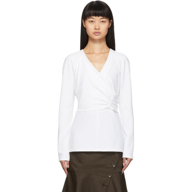 Tibi White Crepe Structured Shirred Blouse