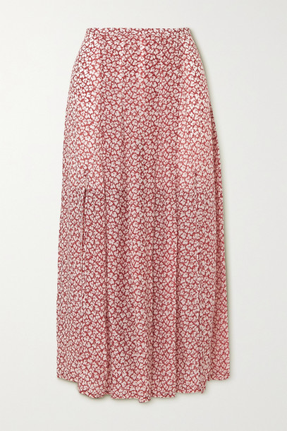 RIXO - Georgia Pleated Printed Modal Midi Skirt - Brown