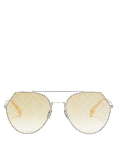 Fendi - Ff Logo Print Aviator Metal Sunglasses - Womens - Yellow