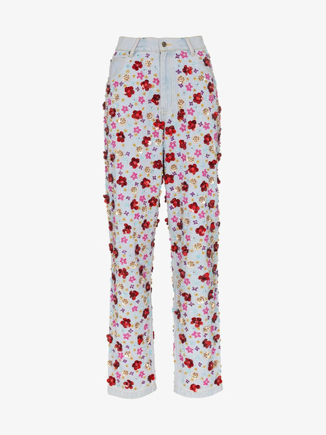 Ashish floral sequin embroidered jeans