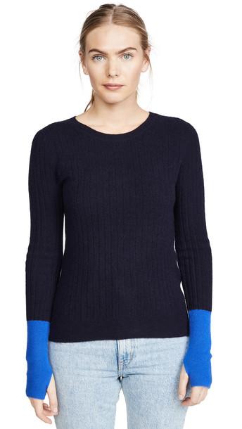Naadam Colorblock Cashmere Sweater in navy