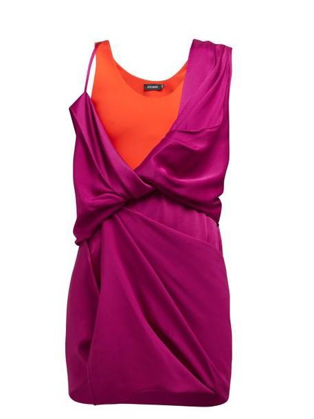 Atlein - Draped Hybrid Satin Jersey Mini Dress - Womens - Fuchsia