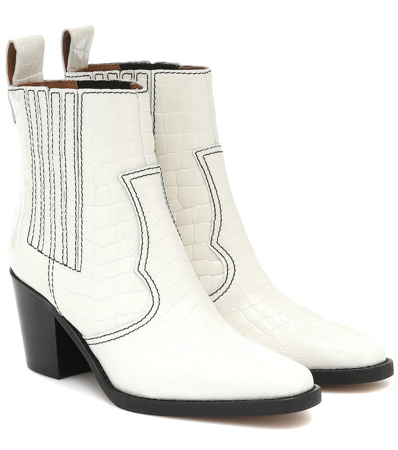Ganni Western leather ankle boots in white