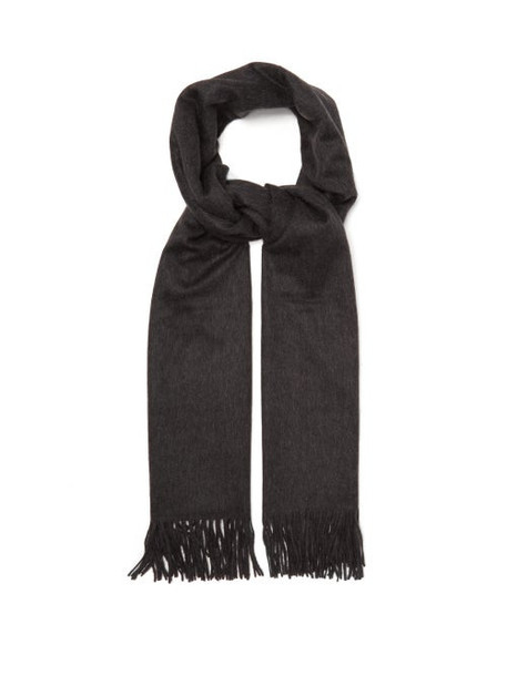 Johnston's Of Elgin - Fringed Cashmere Scarf - Womens - Charcoal