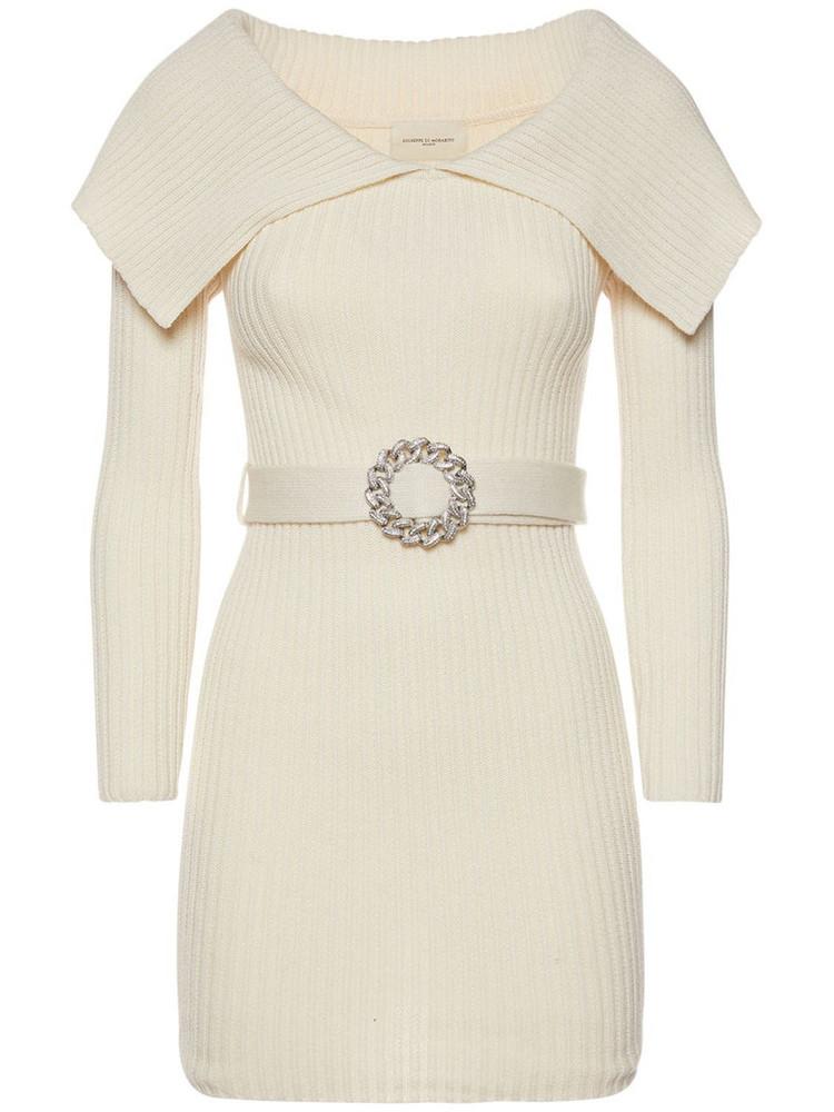 GIUSEPPE DI MORABITO Wool Blend Belted Mini Dress in white