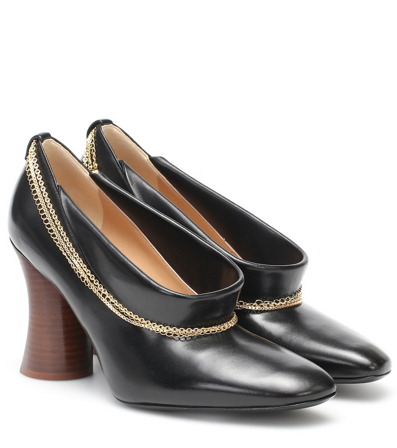 Petar Petrov Sayra chain-trimmed leather pumps in black