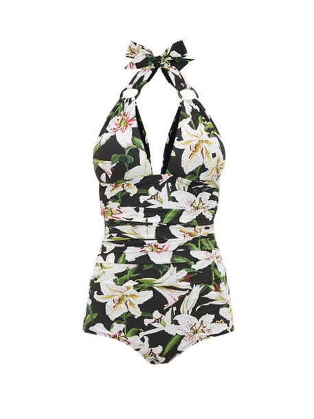 Dolce & Gabbana - Lily Print Halterneck Ruched Swimsuit - Womens - Black Print