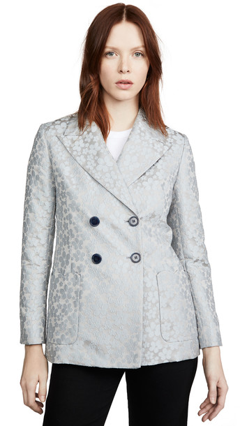 ALEXACHUNG Double Breasted Jacket Daisy in blue