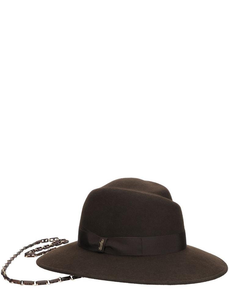 BORSALINO Wool Felt Brimmed Hat W/chain