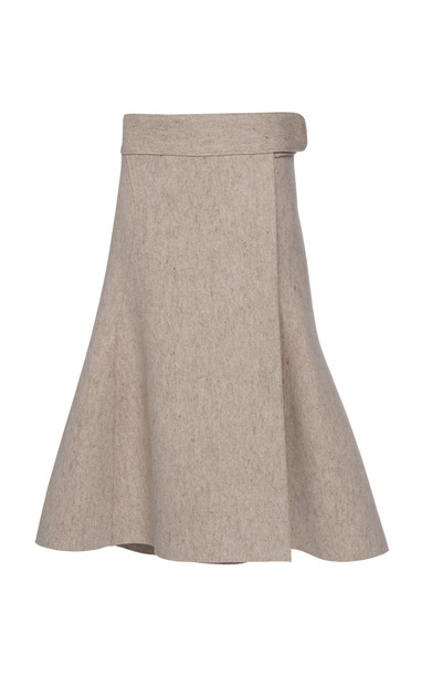 Jil Sander Wool-Blend Felt Midi Skirt Size: 36 in grey