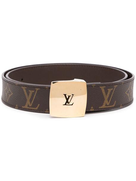 Louis Vuitton pre-owned monogram logo-buckle belt - Brown