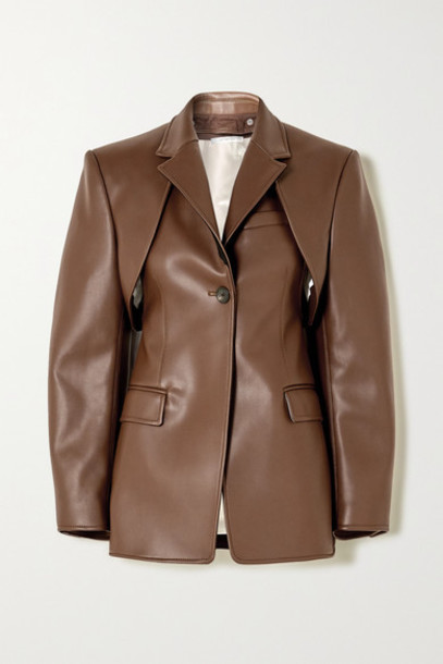 Peter Do - Convertible Faux Leather Blazer - Brown