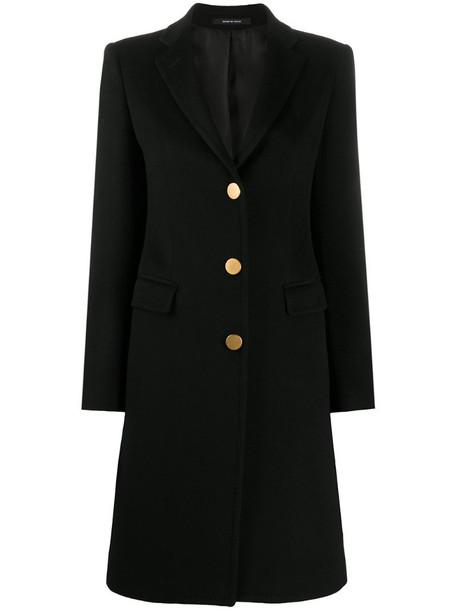 Tagliatore button-up cashmere-blend coat in black