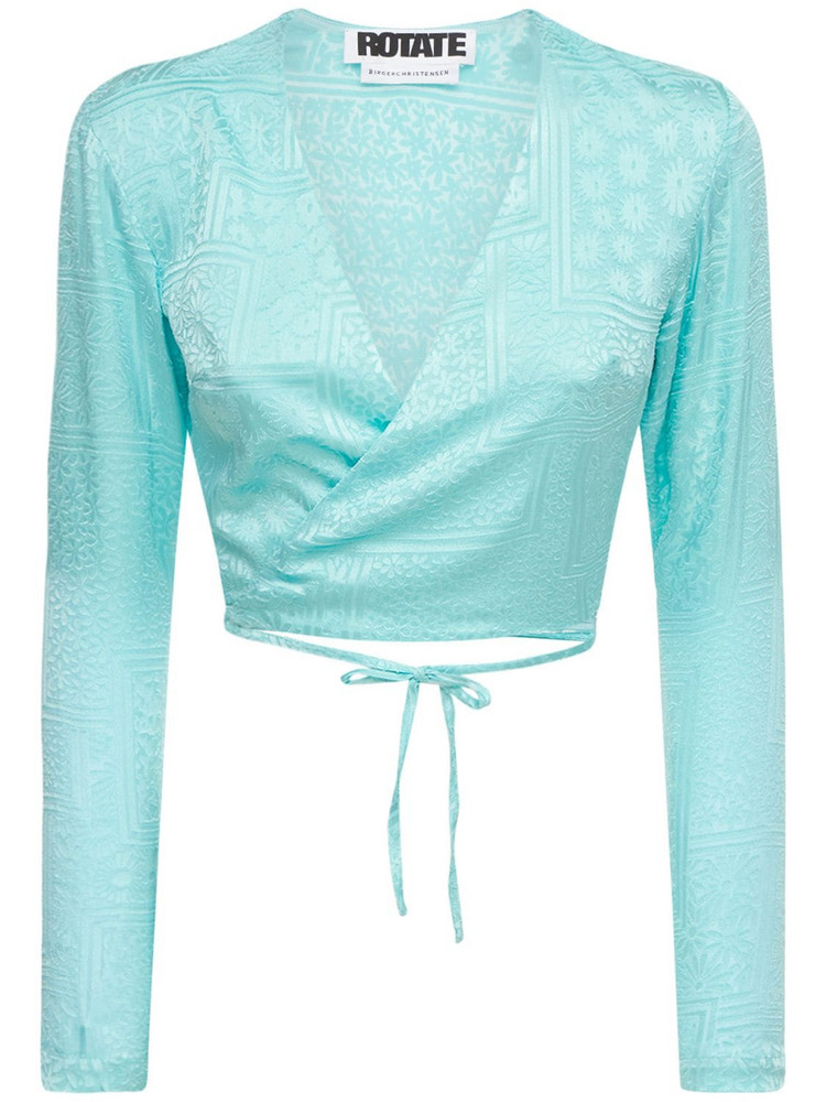 ROTATE Jeanette Viscose Blend Satin Wrap Top in turquoise