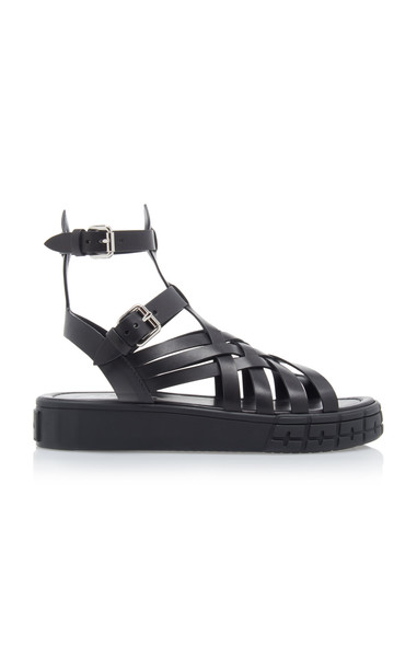 Prada Woven Leather Sandals in black