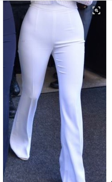 pants wide-leg pants white kylie jenner classy summer outfits