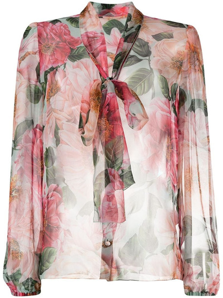 Dolce & Gabbana floral-print sheer blouse in neutrals