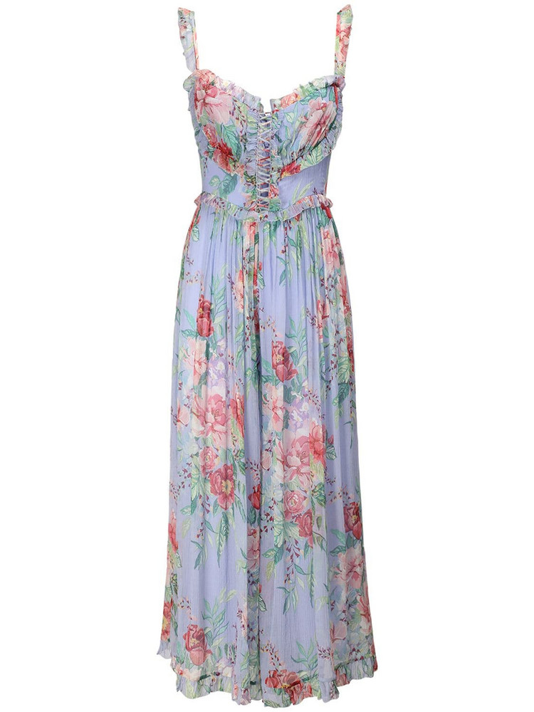 ZIMMERMANN Bellitude Floral Print Chiffon Jumpsuit in blue / multi