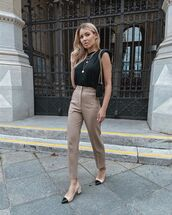shoes,nude sandals,cap toe heel,pants,sleeveless,sleeveless top,work outfits