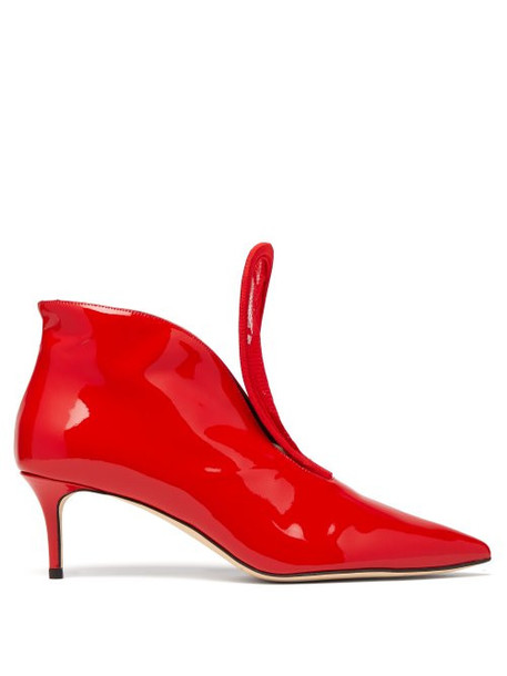 Christopher Kane - C String Leather Ankle Boots - Womens - Red
