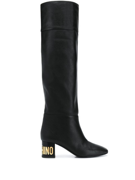 Moschino logo plaque over-the-knee boots in black