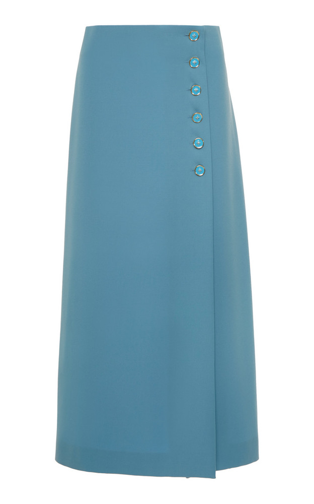 Marc Jacobs Button-Detailed Wool Wrap-Front Midi Skirt Size: 0 in blue