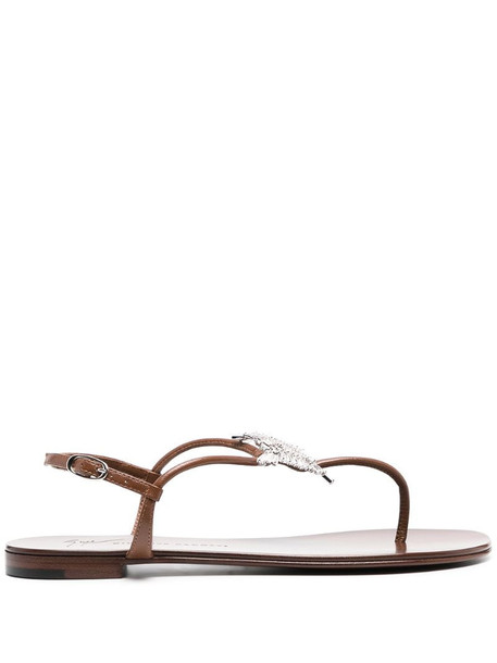 Giuseppe Zanotti embellished thong sandals in brown