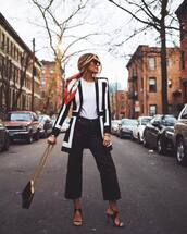 pants,wide-leg pants,black pants,black sandals,black bag,white t-shirt,blazer