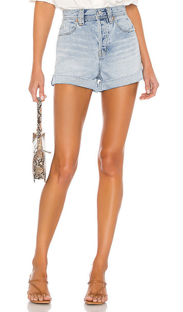 Free People Setting With The Sun Short in Blue in denim / denim