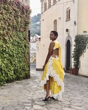 dress,yellow dress,asymmetrical dress,mules