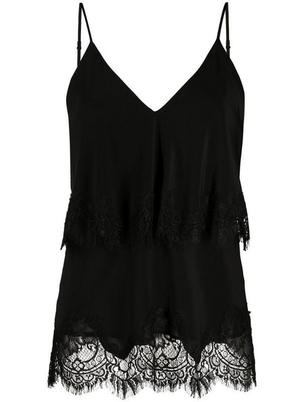 Gold Hawk tiered lace trim camisole in black