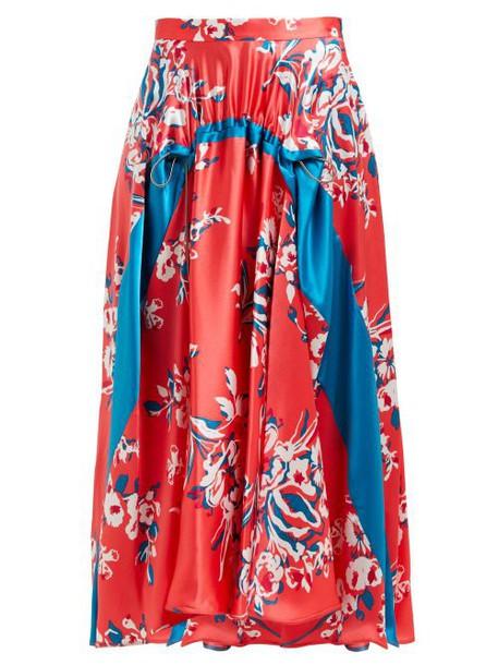 Roksanda - Zelma Floral Print Silk Skirt - Womens - Pink Print
