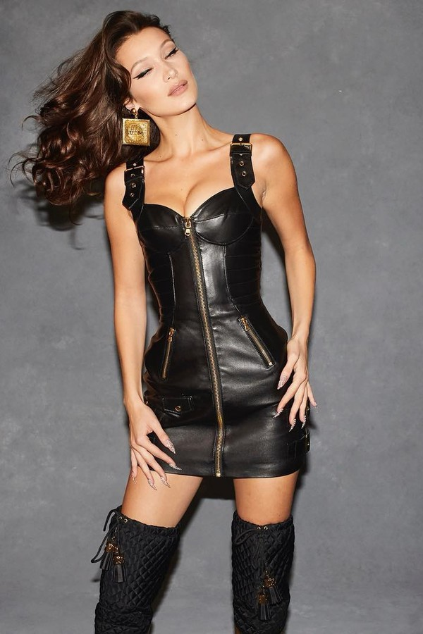 dress celebrity model bella hadid leather leather dress zip